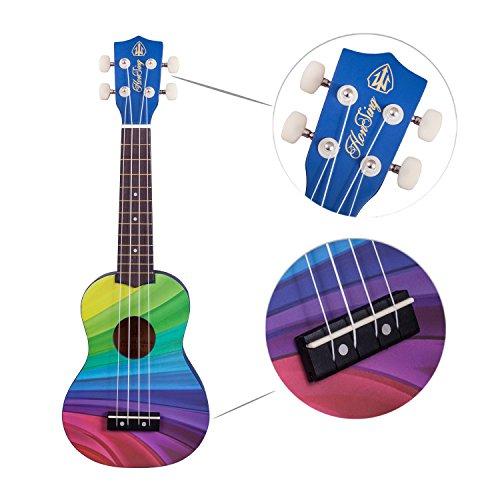 Honsing Soprano Ukulele Beginner Hawaii kids Guitar Uke Basswood 21 inches with Gig Bag- Rainbow Stripes Color matte finish - Image 2