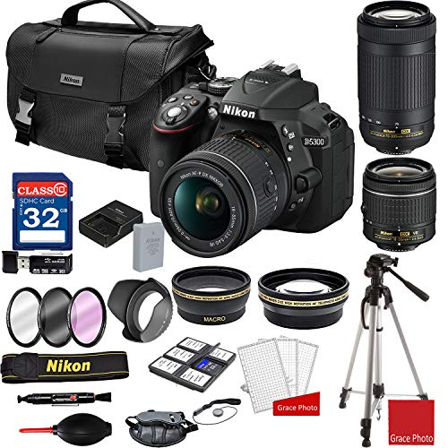 Nikon D5300 DSLR Camera with AF-P 18-55mm and 70-300mm Zoom Lenses + Nikon DSLR Camera Case + 32GB Memory Bundle (25pcs) (Best Wifi Dslr Camera 2019)