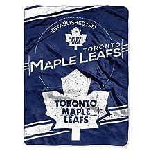 NHL Toronto Maple Leafs Stamp Plush Raschel Blanket, Blue, 60 x 80-Inch