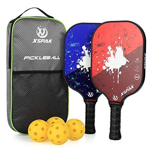 XS XSPAK Graphite Pickleball Paddle Set, Lightweight Graphite Honeycomb Composite Core Paddles Sets of 2 Including Racket Bag and 4 Balls, USAPA Approved