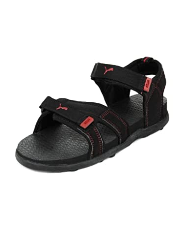 db7fca16621 Puma Men s Techno II Ind. Black and High Risk Red Athletic   Outdoor Sandals  -
