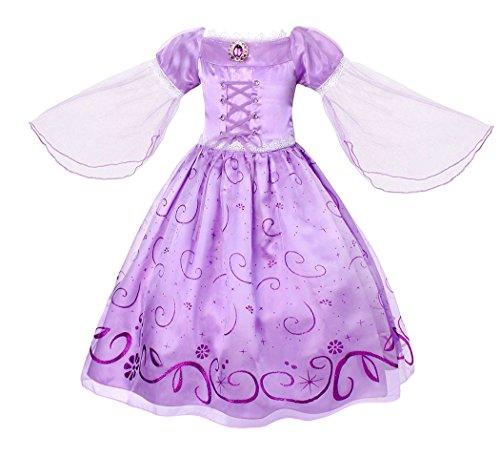 (HenzWorld Girls Dresses Rapunzel Costume Dress Princess Birthday Party Cosplay Outfit Mesh Sleeve 3-4)