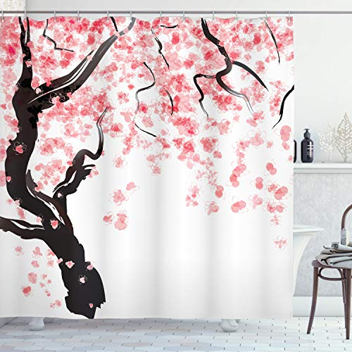 Ambesonne Floral Shower Curtain, Dogwood Tree Blossom in Watercolor Painting Effect Spring Season Theme Pinkish Tones, Cloth Fabric Bathroom Decor Set with Hooks, 70 Long, Black Pink