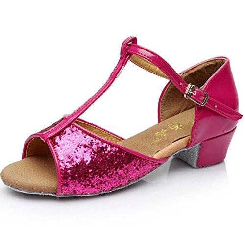 BYLE Sandalias de Cuero Tobillo Samba Jazz Moderno Piso con Zapatos de Baile Zapatos de Baile Latino Sequined Rosa roja Onecolor