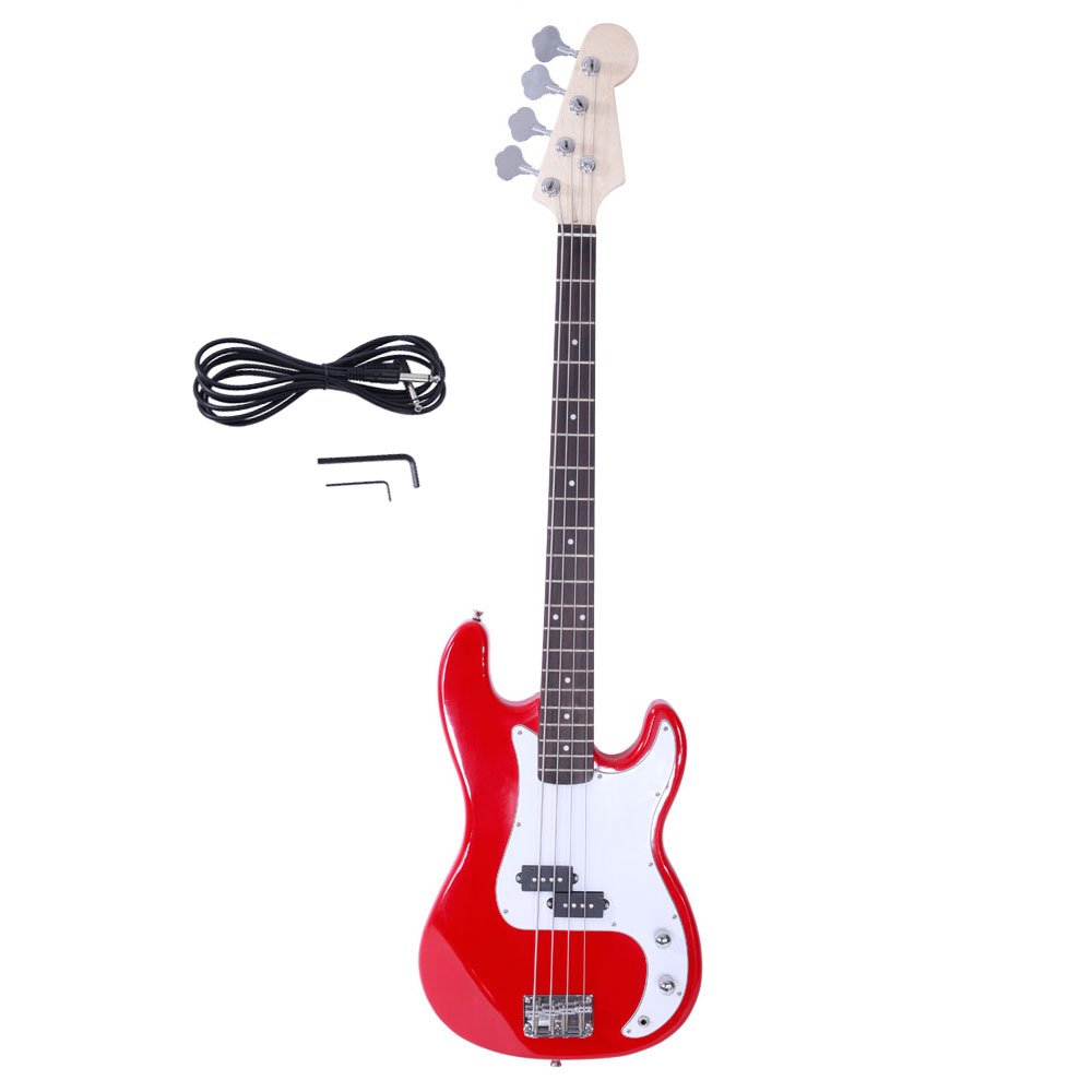 Glarry Electric Bass Guitar Full Size 4 String Rosewood Basswood Fire Style Exquisite Burning Bass Red