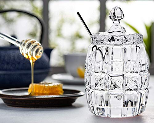 Crystal Jam - Honey Pot with Lid - Elegant Glass Jar with Lid and Serving Spoon for Honey, Jam, Jelly - Crystal Jam Jar With Lid