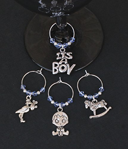 Baby Shower-New Baby Boy-Wine Glass Charms-Set of 4