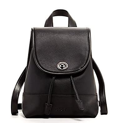 SUSU Leather Backpack for women Small Backpacks Black Purse For ...