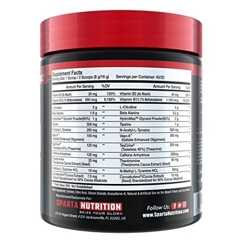 Sparta Nutrition Kraken Pre Workout Powder - Best Pre-Workout for Men / Women, Nitric Oxide Booster & Nootropic Drink to Increase Energy, Focus and Muscle Pumps - Sex on the Beach, 40 Servings