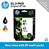 HP 63 Black & Tri-color Original Ink Cartridges, 2 Cartridges (F6U61AN, F6U62AN) for HP Deskjet 1112 2130 2132 3630 3632 3633 3634 3636 3637 HP ENVY 4512 4513 4520 4523 4524 HP Officejet 3830 3831 3833 4650 4652 4654 4655