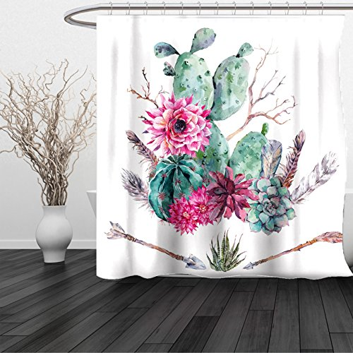 HAIXIA Shower Curtain Cactus Exotic Natural Vintage Watercolor Bouquet Bohemian Arizona Vegetation Green Pink Brown