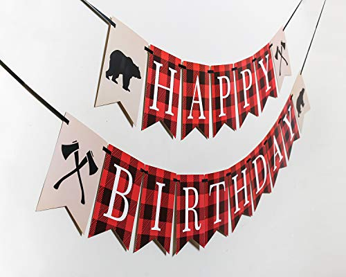 Lumberjack First Birthday Party Banner, Woodland Birthday and Baby Shower Party Decoration Photo #2