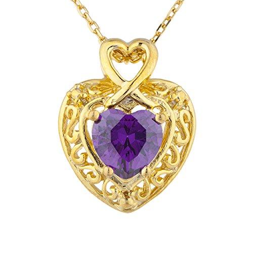 - 14Kt Gold 1.5 Ct CZ Amethyst Heart Design Pendant Necklace