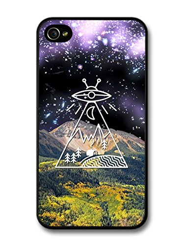 Alien Space Countryside with Mountain Collage Minimalist coque pour iPhone 4 4S
