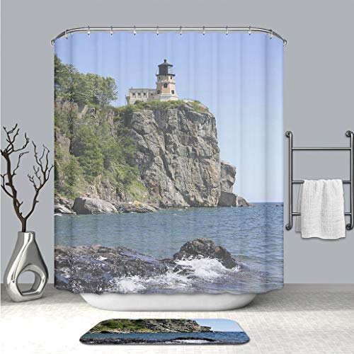 BEICICI Art Shower Curtain with Doormat Bath Mat Lake Superior Lighthouse Mildew Resistant & Waterproof Polyester Decoration Bathroom Curtain ()