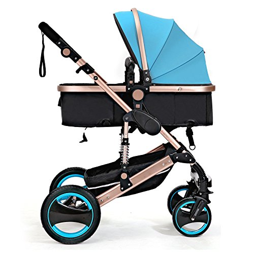 QXMEI Kids Pram Travel System 3 in 1 Combi Stroller Buggy Baby Child Pushchair Reverse Or Forward Facing Rain Cover Net Bottle Holder Foldable with FootMuff,SkyBlue ()