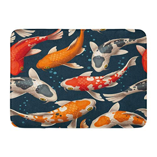 DREAM-S Doormats Bath Rugs Outdoor/Indoor Door Mat Colorful Fish Koi Carps Red Pattern Japanese Chinese Pond Animal Bathroom Decor Rug 16