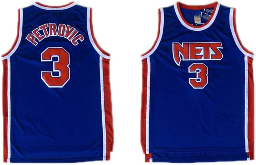 LITBIT Los Hombres de Baloncesto Jersey Nets de Nueva Jersey 3# Drazen Petrovic Mangas Transpirable de Secado r/ápido Deporte Chaleco de la Tapa,Azul,S 170cm//50~65kg