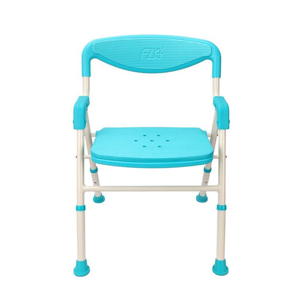 高齢者の浴室折りたたみシャワー椅子バス椅子妊娠中の女性ノンスリップシャワースツール (色 : 青) B07DFCSK58 青 青