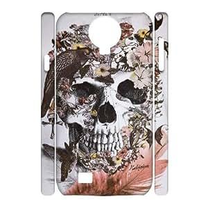 3D Birl Skull Skeleton Samsung Galaxy S4 Case, Dustin - White
