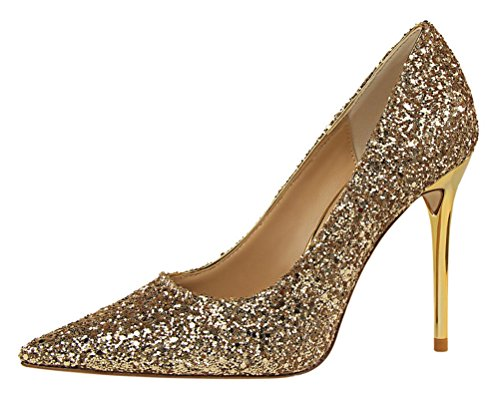 Rally Driver Costume (T&Mates Womens Fashion Glitter Sequins Bling Pointy Stiletto High Heel Dress Party Dressy Pumps Shoes (5 B(M)US,Gold))