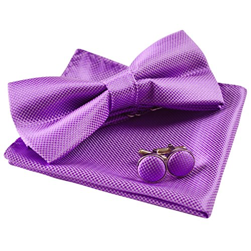 Mens Solid Formal Banded Pre-Tied Bow Ties Set-Purple