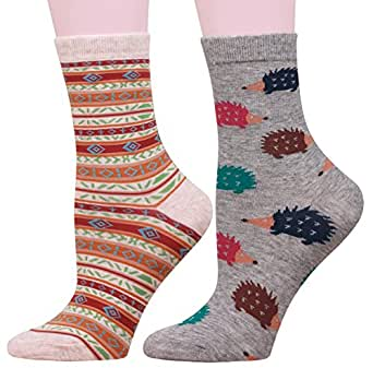 Buttons & Pleats Womens Cotton Socks Cute Animal Story Design Soft Comfy 2 Pairs Hedgehog Pattern
