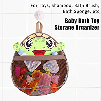 Ava & Kings Baby Bath Toy Organizer Mesh - Hanging Bathroom Basket Bath Toys Storage Bin for Children - Colorful Fun, Safe & Mold-Resistent, Easy-to-Use Large - Green Honu Turtle : Baby