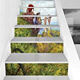 Stair Stickers Wall Stickers,6 PCS Self-adhesive,Country Decor,Children Girls Enjoying the Nature on Old Cart at the Country Nature Painting Pastoral Theme,Multi,Stair Riser Decal for Living Room, Hal