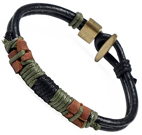 Areke Braided Genuine Leather Bracelets for Men,Cool Vintage Male Unisex Rope Wrap Wrist Bangle 7.5-8.5 inch
