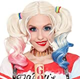 #6: Morvally Multi-color Lolita Long Curly Ponytail Wig for Adult Women Halloween Costume Cosplay Wigs (Pink/Blue)