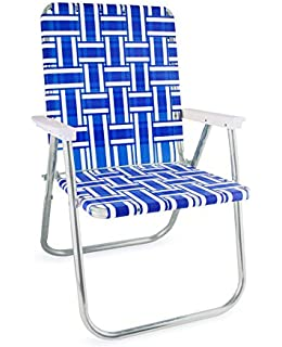 Genial Lawn Chair USA Webbing Chair (Deluxe, Blue And White With White Arms)