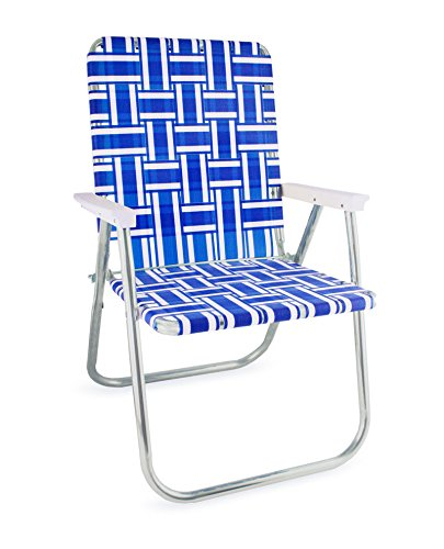 Lawn Chair USA Webbing Chair (Deluxe, Blue and White with White Arms)