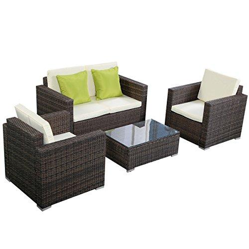 giantex outdoor wicker sectional w cushions 4pc patio