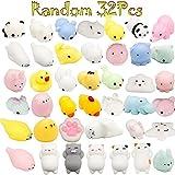 Mochi Squishy Animal Toys, BeYumi Random 32 Pcs Kawaii Cute Soft Squishy Stretchy Toys Mini Animal Hand Toy Stretchy Healing Stress Reliever