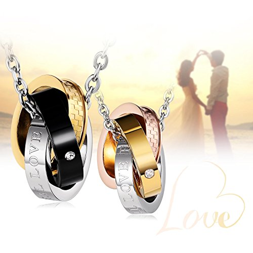 Aienid Stainless Steel Couple Necklace for Men and Women Eternal Love Pendant Neckalce with Chain by Aienid (Image #6)