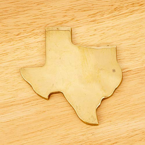 Restored by UKARETRO Kettle Stand/Flat Trivet/Paperweight || Texas State map Outline || Vintage Solid Brass || Green Fabric Base