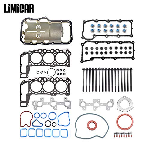 Cylinder Heads Fully Assembled - LIMICAR MLS Cylinder Full Head Gasket Set with Head Bolts Compatible with 2002-2005 Jeep Liberty Dodge Ram 1500 2004-2005 Dodge Dakota Durango 2005 Jeep Grand Cherokee 3.7L Vin K