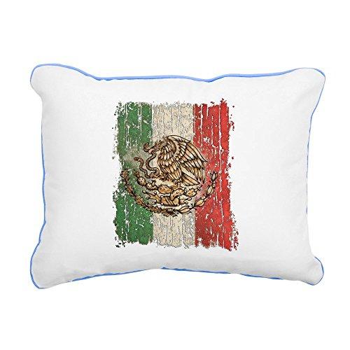 Rectangular Canvas Throw Pillow Caribbean Blue Mexican Flag Mexico Grunge by Royal Lion