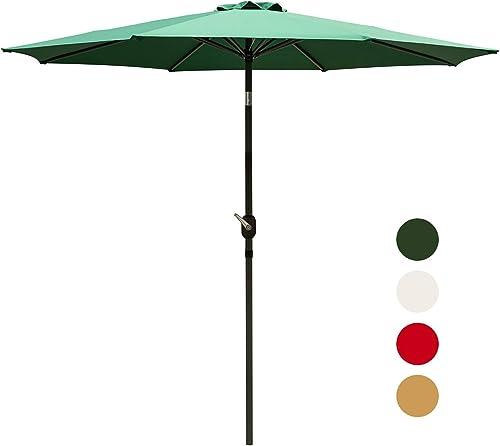 Outdoor Basic 9 Ft Patio Umbrella Aluminum Market Table Umbrella with Button Tilt and Crank Lift Green