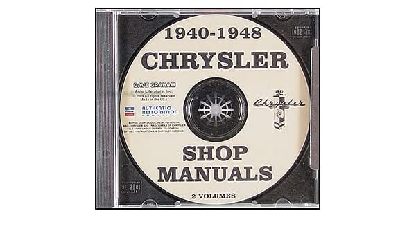 1940 1948 chrysler cd rom repair shop manual chrysler amazon com 1940 1948 chrysler cd rom repair shop manual chrysler amazon com books
