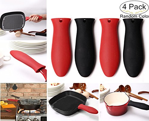 4 Pack Silicone Hot Handle Covers, Carnatory Heat Resistant Silicone Pot Handle HolderPotholder for Cast Iron Skillets, Pans, Frying Pans,Griddles, Metal and Aluminum Cookware Handles(Black & Red)