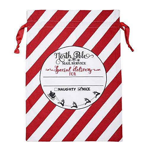 Ktyssp Large Canvas Merry Christmas Santa Sack Xmas Stocking Reindeer Gift Storage Bag Canvas Bag ()