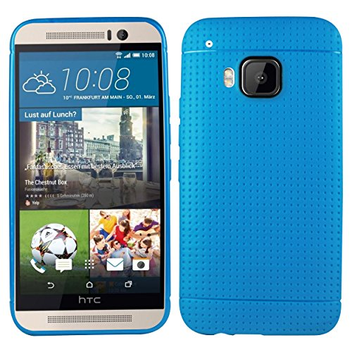 heartly new retro dotted design hole soft tpu matte bumper back case cover for HTC One M9   power blue