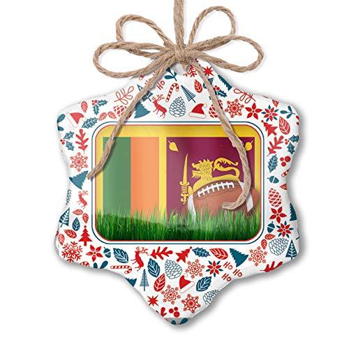 NEONBLOND Christmas Ornament Football with Flag Sri Lanka Red White Blue Xmas
