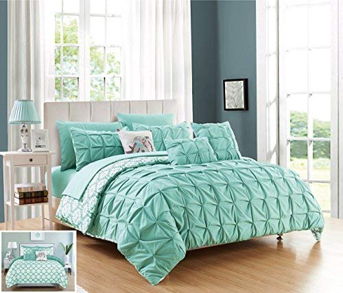 Chic Home 8 Piece Yael Pleated Pintuck and Aztec Inspired Printed Reversible with Elephant Embroidered Pillow Twin Bed in a Bag Comforter Set Aqua