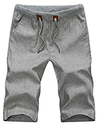 Tanming Men's Elastic Waist Flat Front Linen Shorts
