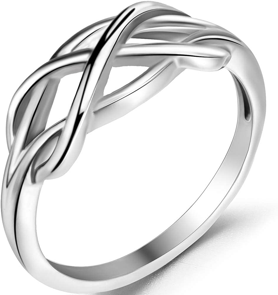 Jude Jewelers Silver Gold Waved Infinity Braided Statement Promise Anniversary Ring