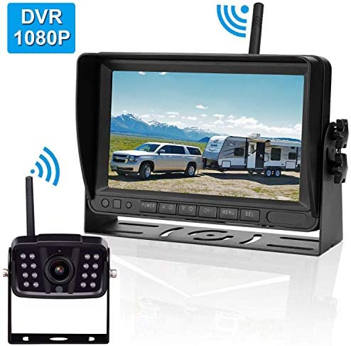 FHD 1080P Digital Wireless Backup Camera for RVs Trailers Trucks Fifth Wheels Boats Rear Front View Camera 7 Monitor with DVR System Highway Monitoring System Guide Lines ON OFF