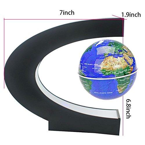 "Magnetic Levitation Floating World Map Globe with C Shape Base, 3"" Rotating Planet Earth Globe Ball Anti Gravity LED Light Lamp- Educational Gifts for Kids, Home Office Desk Decoration (Dark Blue)"